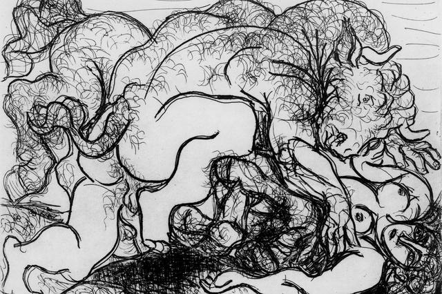 Minotaure attaquant une amazone