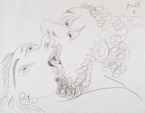 The Kiss 1967 by Pablo Picasso 1881-1973
