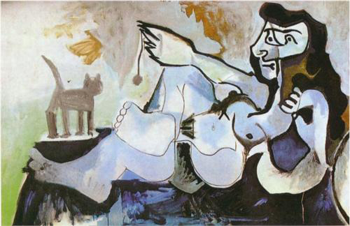 Pablo-Picasso-Reclining-female-nude-playing-with-cat-1964